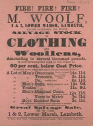 Advert For M. Woolfe, General Clothiers